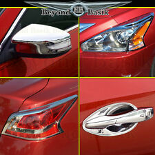 Fits 13-15 ALTIMA Chrome Head/Tail Light Bezels+Door Handle Bowls+Mirror Covers