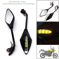 2XMotorcycle Rear View Mirrors w/LED Turn Signal Lights Indicators Amber Styling