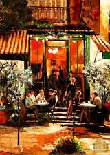 YARY DLUHOS Paris sidewalk cafe city night lights Ltd Edition ACEO Print Art