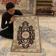 YILONG 2'x3' Hand Knotted Silk Area Rugs Family Room Indoor Home Carpet 814B