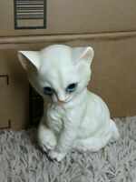 LEFTON Porcelain White Cat Figurine Gorgeous Face Mint Condition Made in Japan