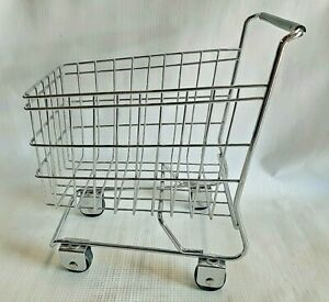Toy Doll Replica Shopping Basket Cart Metal Silver Wire for Kids & Home Decor