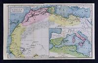 1908 Classical Map Ancient Africa Mauritania Libya Roma Carthage Roman Empire