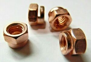 Universal Motorcycle Copper Exhaust Nuts M6 x 1.00 mm With Collar 10Pk Din 14441
