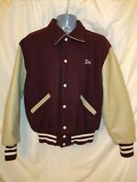 Vintage MINT 70's Varsity Letterman Jacket 1970 Dark burgundy tan leather Med