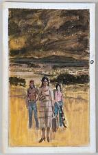 Darrell Greene ILLUSTRATOR American West coast landscape w/d woman in the field