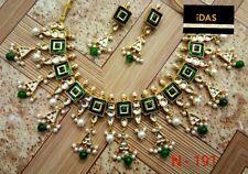 Indian Ethnic Kundan Gold Plated Green Choker Necklace Earrings Jewelry Set