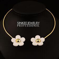 2016 New Big White Flower Choker Collar Necklace For Women 18K Yellow Gold XL395