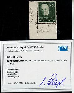 A2) Bund 144 FN 1 Formnummer Eckrand Bogenecke Befund Schlegel BPP e&e gest RRR