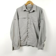 Mountain Hardwear Mens Button Down Shirt Xl Extra Large Gray Solid Outdoors Vent