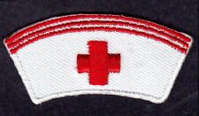 NURSE CAP w/RED CROSS - IRON ON EMBROIDERED PATCH -PROFESSION - MEDICAL - NURSE