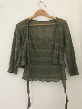Ladies Vest And Cardigan Principles Size 13 Green Casual <JJ3244