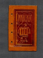 Vintage Tooled Leather Book Cover 1914 Commencement Looks New No Marks on Holes