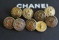 100% Chanel buttons lot 9 bronze  cc logo 12,5 mm 0,3 inch 💔💔💔