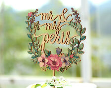Personalized Mr & Mrs Wedding Cake Topper Hand Printed with Floral Wreath #149