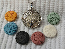 Tree of Life Essential Oil Aromatherapy Diffuser Necklace with 6 lava stones!