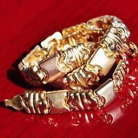 "10k multi tone gold bracelet 7.25"" fancy link chain vintage handmade 4.2gr"