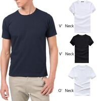 Fitness Cotton Solid V/Round Neck Short Sleeve Men's T-shirt Casual Tee