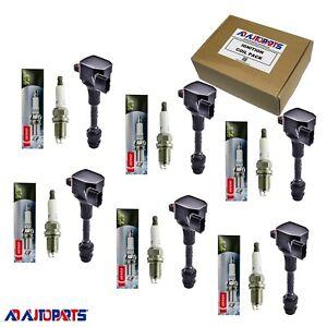 Set of 6 OEM Platinum TT Spark Plug + 6 Ignition Coils For Infiniti & Nissan
