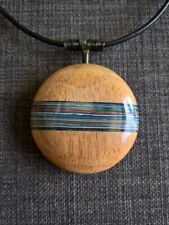 big round modern wood pendent statement necklace fordite / detroit agate