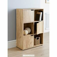 Shelves Storage Unit 6 Cubes 3 Doors - Home Furniture Shelving - Oak Finish