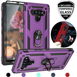 For LG Stylo 6 Magnetic Support Phone Case Cover Metal Ring Stand+Tempered Glass