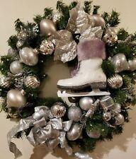 "Christmas Holiday Wreath 24"" Winter Ice Skates Silver Balls Ribbon Pine Cones"