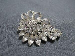 Vintage signed Eisenberg clear crystals silvertone metal flower pin brooch