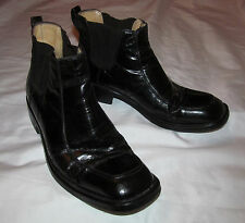 vintage ALDO BRUE  polished leather pull on chelsea ankle boots men's 6 women 8