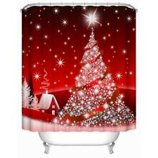 Red Christmas Tree Waterproof Polyester Bathroom Shower Curtain Decor with Hooks