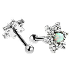 Flower White Opal Stud Earring Ear Barbell Crystal Surgical Steel Elegant Charms