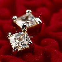 18k yellow gold gp made with princess cut swarovski crystal square stud earrings