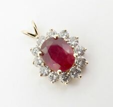 .Ruby & 1.00ct Diamond 14k Gold Cluster Pendant Val $2280