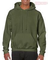 Verde Militar Gildan Liso Capucha Mezcla Resistente Sudadera Jersey para Hombre