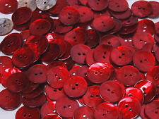 B151 Crimson Mother of Pearl Round Shell Buttons Sewing Craft Art DIY 15mm 80pcs