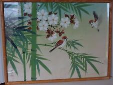 Vintage Chinese Silk Painting Birds Signed Asian Oriental Bamboo