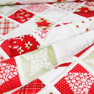 Tessuto al Metro Natale Cotone a Fantasia Natalizia Rombi Alberi Rosso h.280 cm