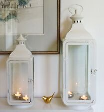 Large & medium cream white metal Set 2 lanterns Indoor outdoor wedding
