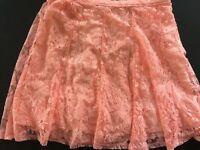 Hollister Skater Skirt Juniors Size XS Peach Crochet Lined Elastic Waist NWT