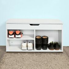 SoBuy®Armario zapatero,puff caja,banco,estante para zapatos,blanco,FSR27-W,ES