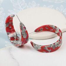 Zebra Print Hoop Earrings New Acrylic Hoops Red