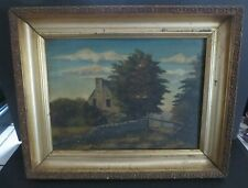 """ANTIQUE 1800's FRAMED 16"""" x12.5"""" OIL ON BOARD PAINTING UNSIGNED"""