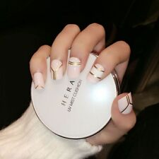 24 Pcs Fashion Milk Fake Nails Cool Golden Stripe Style Oval Short Nails Art Tip