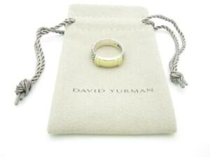 David Yurman Sterling Silver Cable and 14K Yellow Gold Metro Ring Size 6 - A