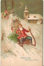 Antique Christmas Postcard Santa Sleigh Gnomes#5015 Good Condition Germany 1907