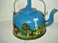 Vintage Handpainted Blue Speckled Enamel Granite Teapot ENAMELWARE
