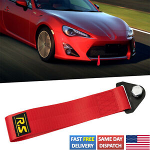 Car Universal Tow Towing Red Strap Rope Belt Racing Drift Rally Bumper Hook