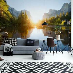 Teens bedroom Photo wallpaper 144x100inch feature wall mural Mountain Lake Decor