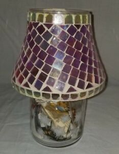 "Unique Hard to Find Jackel, Inc. Blue Mosaic 6"" Hand-Made Candle Shade"
