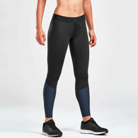 2XU Womens Accelerate Compression Tights Bottoms Pants Trousers Black Sports